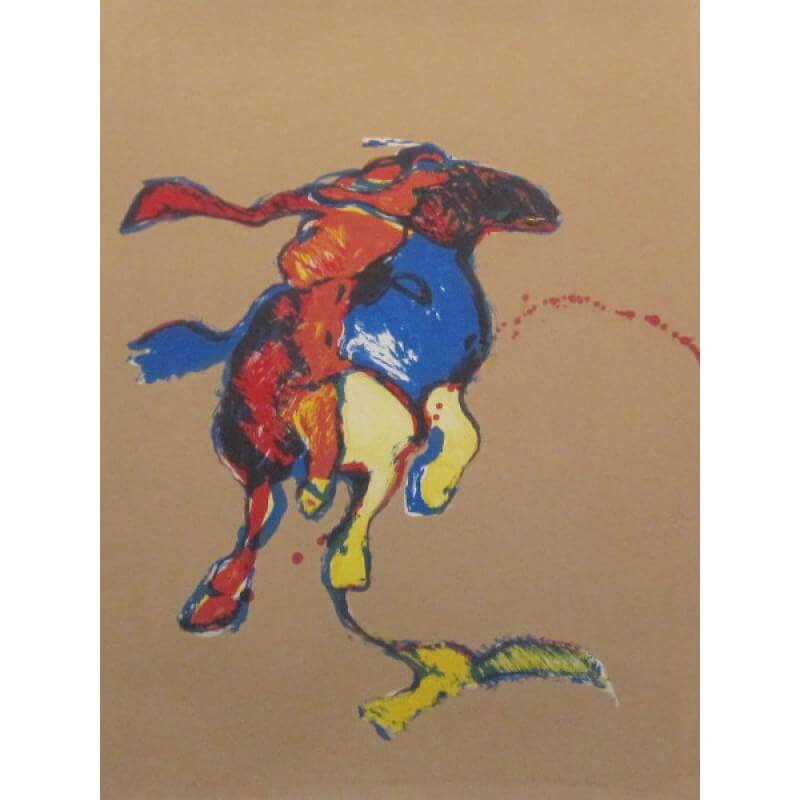 Fritz Scholder Indian on Galloping Horse After Remington
